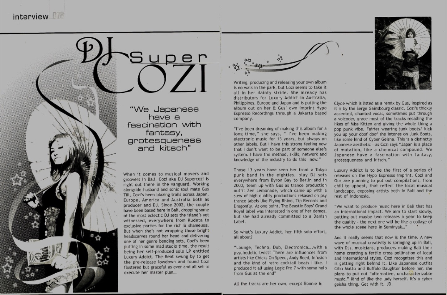 Supercozi interview the beat magazine Bali / 2005 July 15